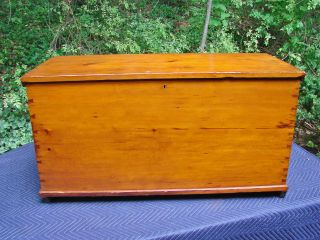 Large,  Dovetailed,  Blanket Chest,  19th/20th C.  Handmade Antique,  6 Pine Boards photo