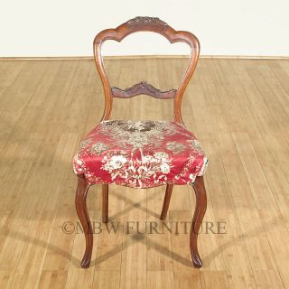Antique English Solid Walnut Victorian Maroon Seat Side Chair C1850 P43c photo