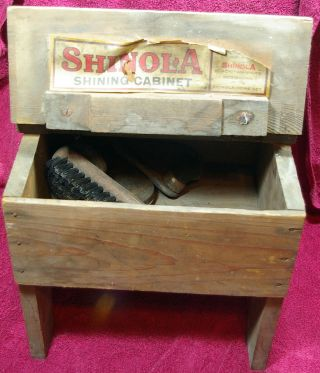 Antique 7 - Piece Shinola Shoe Shine Cabinet & Accessories Circa 1900s photo
