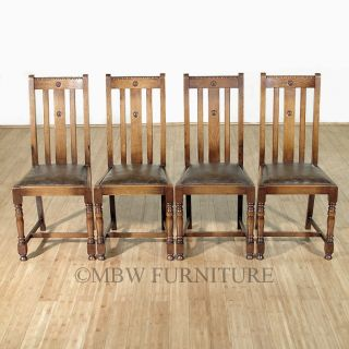 Antique Solid Oak Faux Leather High Back Dining Side Chair Set (4) C1930's P90b photo