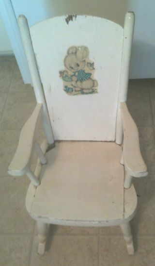 Vintage Child ' S White Wooden Rocker Rocking Chair photo