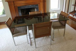Mid Century Milo Baughman Style Dining Set With Table And Four Chairs photo