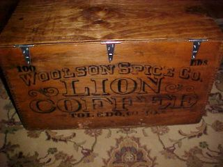 Primitive Woolson Spice Co.  Lions Coffee Crate 100 photo