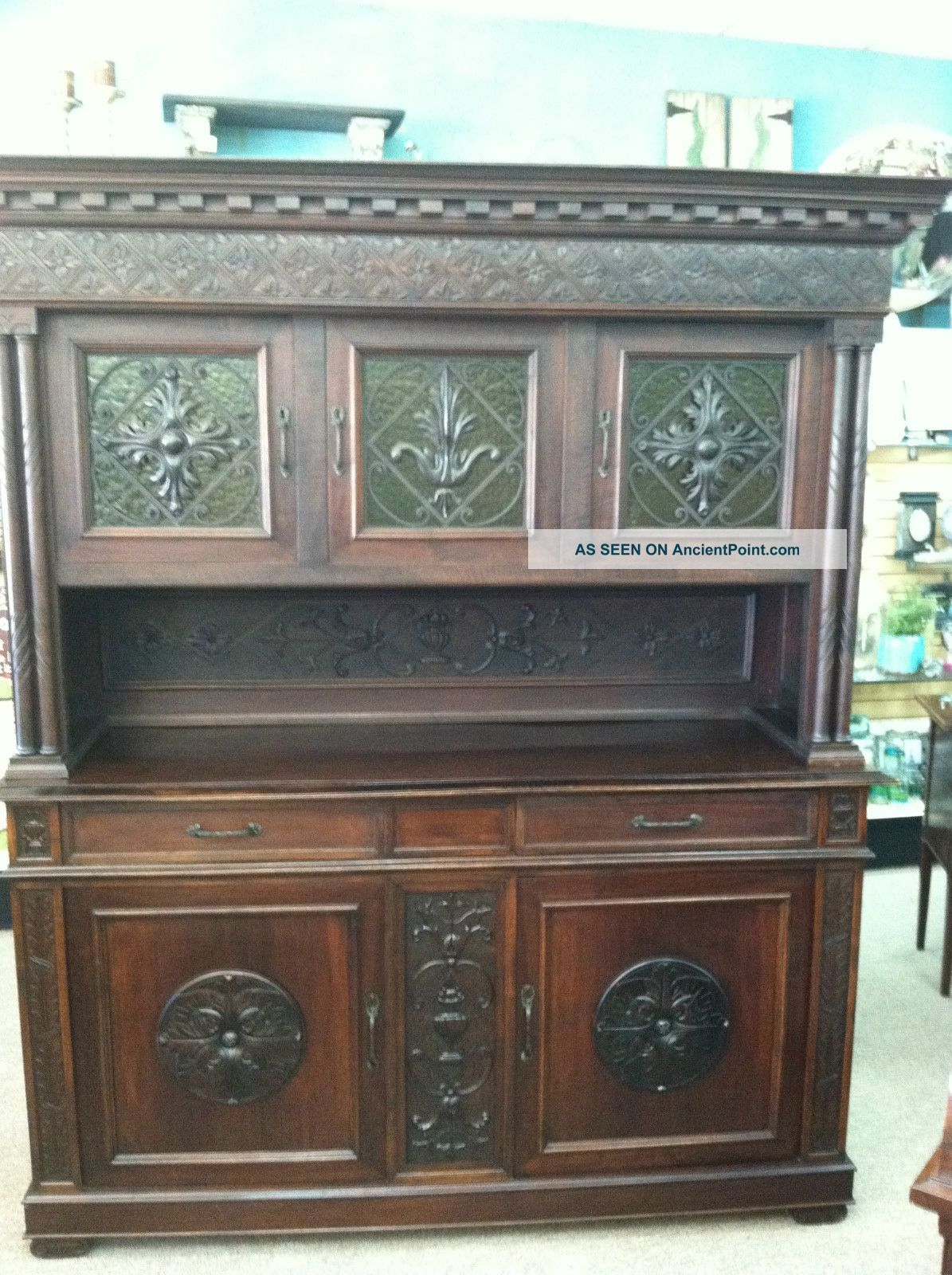 Gorgeous Antique Italian Renaissance Buffet With Carved Medallions Circa 1880 1800-1899 photo