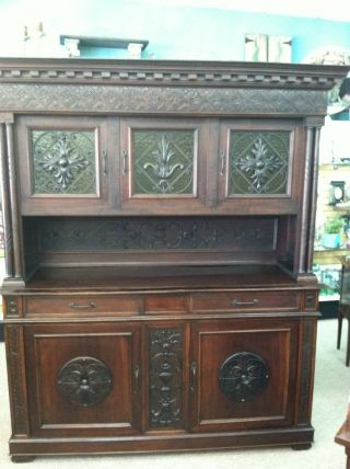 Gorgeous Antique Italian Renaissance Buffet With Carved Medallions Circa 1880 photo