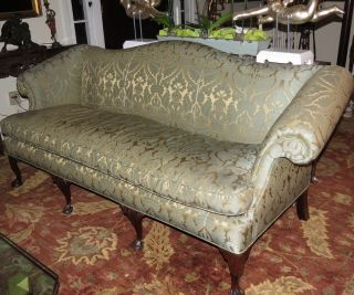 Antique Chippendale Camelback Sofa W Green & Beige Silk Damask photo