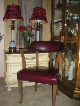 Antique Thonet Arm Chair Lawyers Office Nailhead Trim Faux Red Leather 4 Availab photo