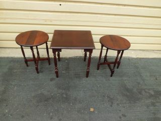 50901 Set 3 Stacking Lamp Table Stand S Rare Find photo