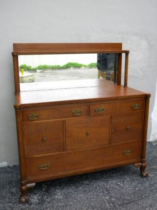 Early 1900 ' S Ball Claw Feet Oak Buffet With Mirror 873 photo