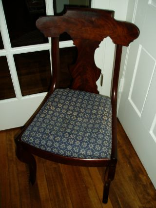 Adorable Antique Burled Walnut Vanity Chair W/scrolled Back photo