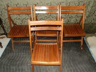 Wonderful Set Of 4 Hand Made Antique Folding Solid Oak Chairs photo