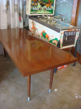 40 ' S 50 ' S Vintage Deco Modern Walnut Dining Table Long Work Bench photo