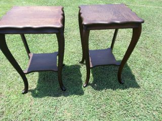 Antique Oak Tables Matched Pair Solid Oak Lamp Tables photo