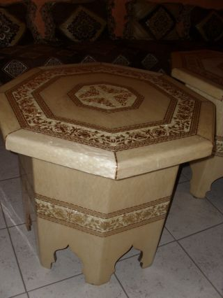 Exotic Handmade Moorish Table With Goldleaf And Pearl Mosaic Designs photo