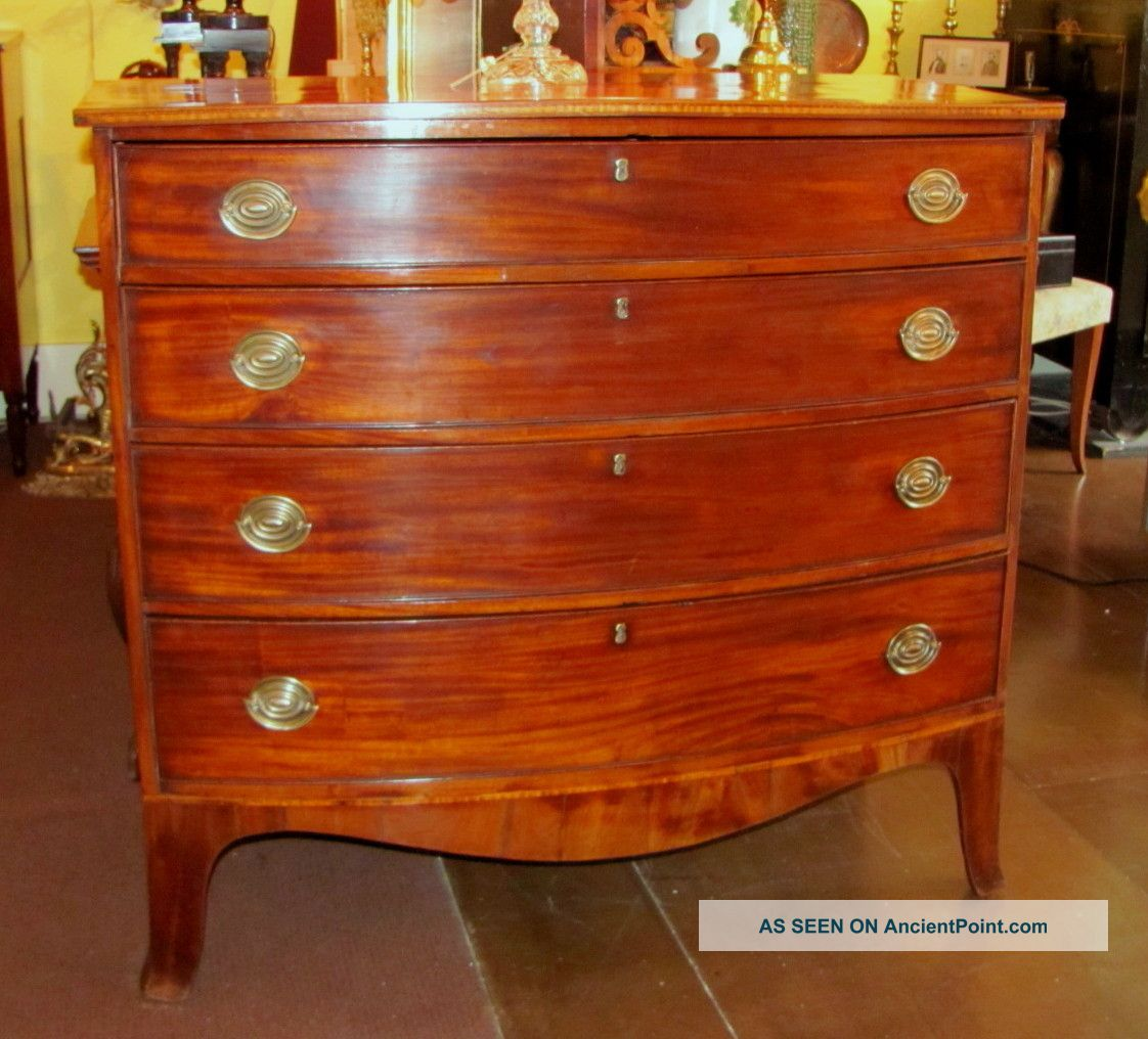 Antique American Federal Mahogany Chest Of Drawers Circa 1800 Pre-1800 photo