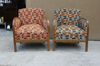 Pair French Art Deco Walnut Club Chairs,  1940 ' S, , photo