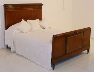 Good Quality Antique Mahogany Art Deco 5ft Bed With New Base & Mattress photo