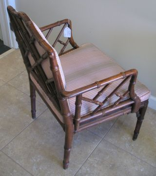 Vintage Chinese Chipendale Faux Bamboo Wood Armchair - Backpad Can Be Removed photo