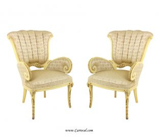 Pair Of Antique Hollywood Regency Cream Parlor Arm Chairs photo