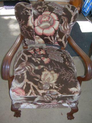 Antique Vintage Claw Foot Chair Floral Art Deco Design photo