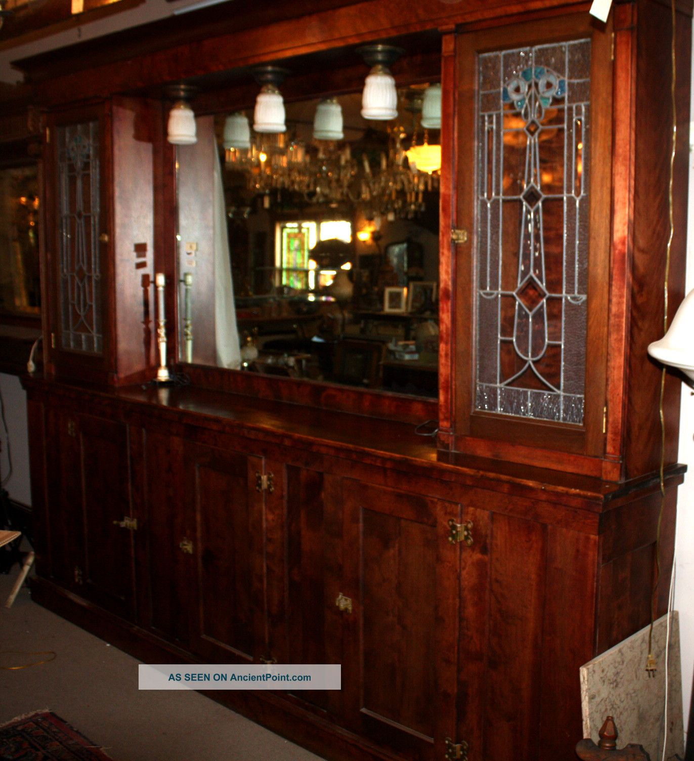 Antique Arts And Crafts Leaded Stained Glass Back Bar Circa 1900 Mohogony Finish 1900-1950 photo