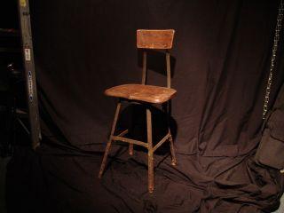 Vintage Industrial Factory Adjustable Drafting Chair / Stool (wood And Metal) photo