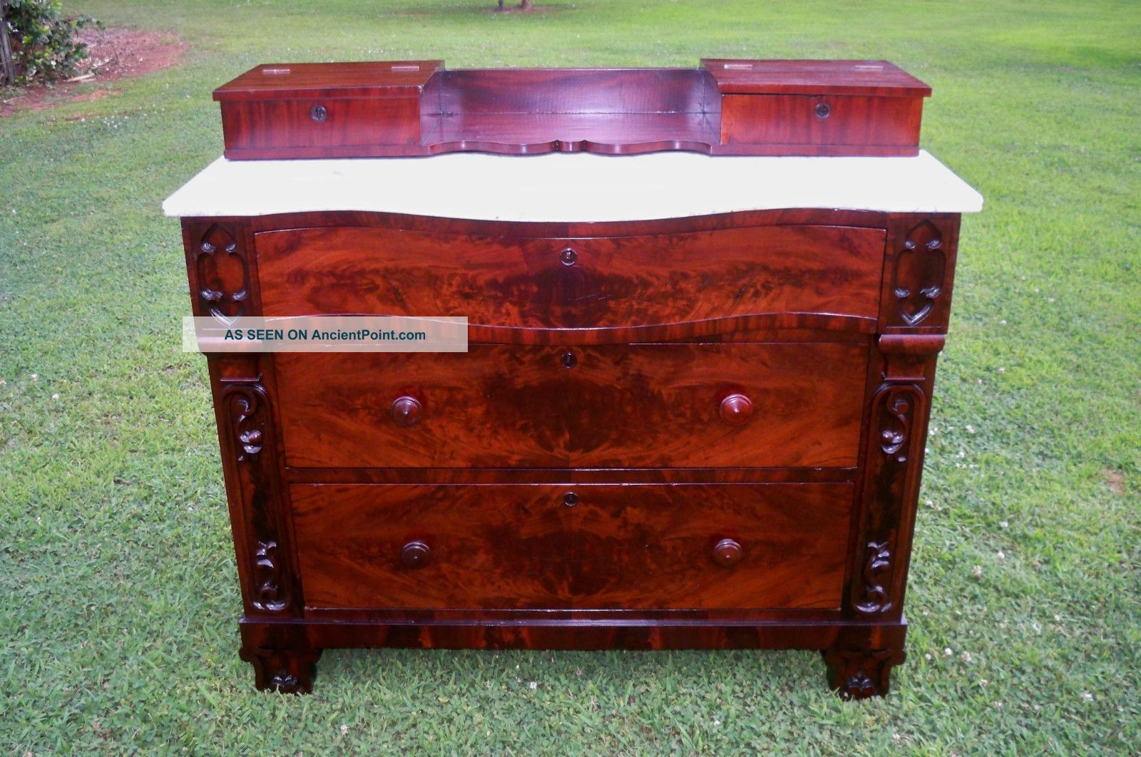 Antique Sideboard Burl Marble Curved Top Refinished 1800-1899 photo