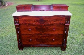 Antique Sideboard Burl Marble Curved Top Refinished photo