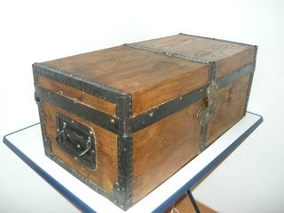 Antique Wooden Travel Trunk/ Chest/ Coffer photo