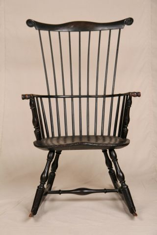 American Pennsylvania Comb Back Windsor Rocking Rocker Arm Chair 18th Century photo