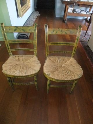 Pair,  Antique Mustard Painted Hitchcock Chairs,  C.  1840 - 60 photo