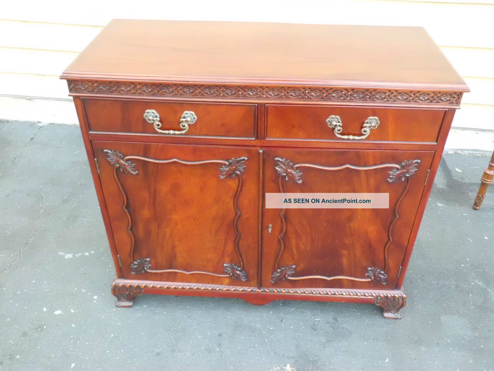 50962 Solid Mahogany Buffet Server Sideboard Quality Jansen ?? Post-1950 photo