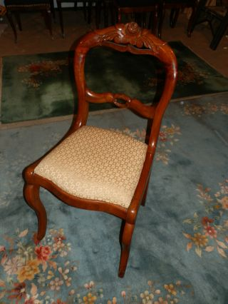 Gorgeous Antique Rose Carved Balloon Back Chair Glowing Natural Patina photo