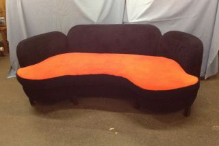 1970 ' S Curved Sofa / Wild Orange & Deep Blue photo