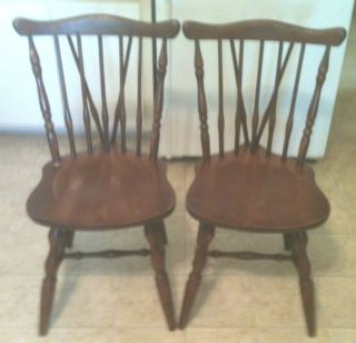 Vintage Set Of 2 Fan Back Early American Maple Windsor Side Chairs photo
