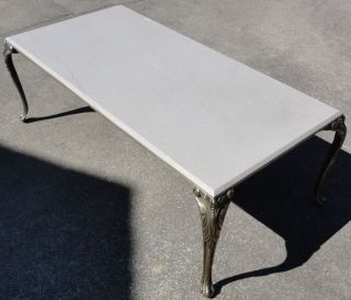 Vintage Hollywood Regency Iron Brass Quartz Marble Cocktail Coffee Table / Italy photo