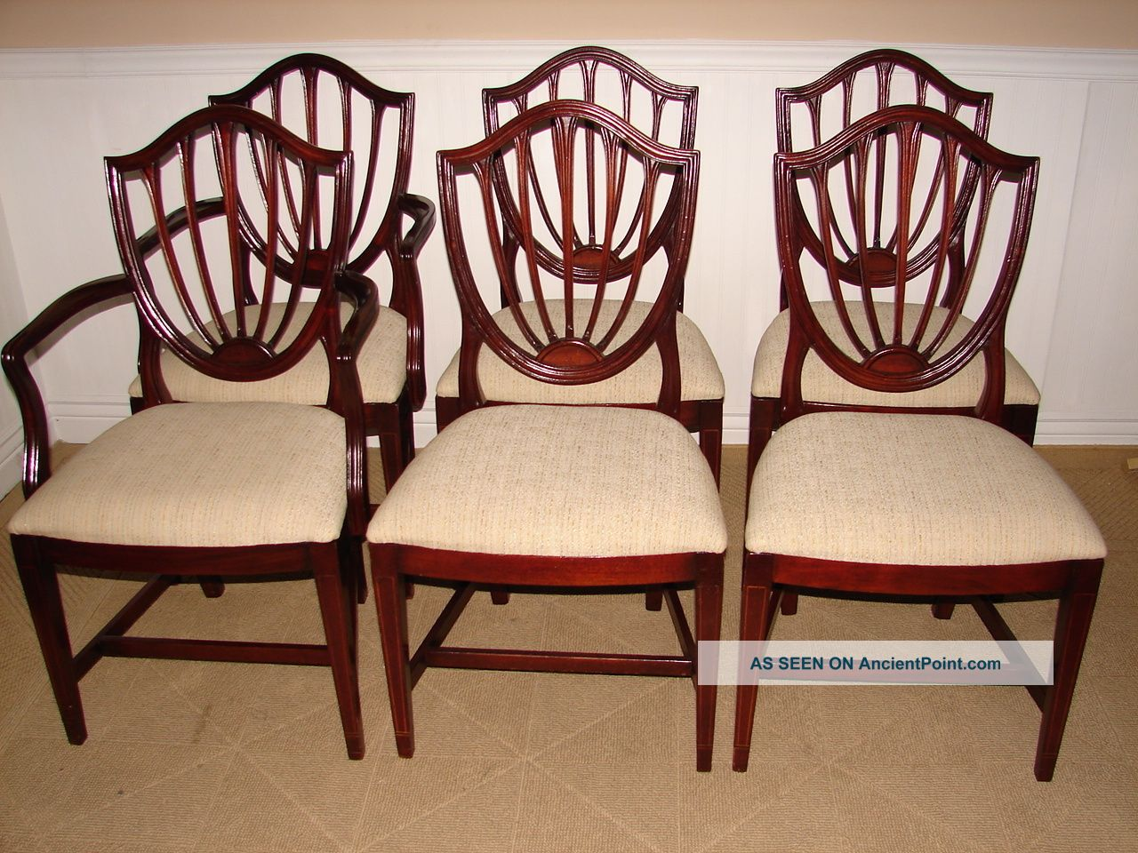 Ethan Allen Vintage Mahogany Shield Back Dining Room Chairs Six New Upholstery