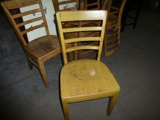 Solid Oak Vintage Restaurant Chairs With Ladder Back - Twelve Available photo