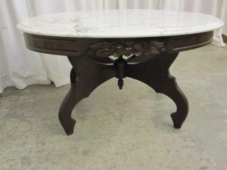 Vintage Kimball Italian Marble Top Coffee Table W Walnut Base Cond photo
