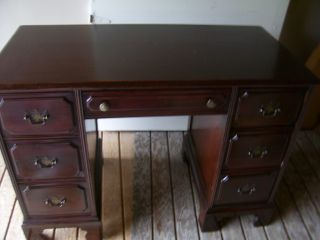 Vintage Midcentury Mahogany Twin Pedestal Knee Hole Desk photo