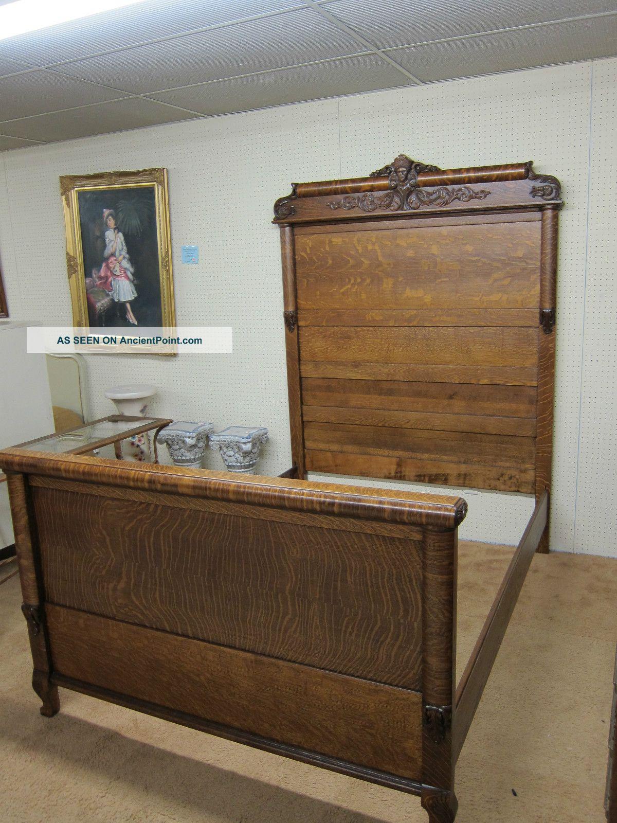 Antique Tiger Oak Full Size Bed Hand Carved Circa 1910 Refinished And  Restored - Antique Tiger Oak Full Size Bed Hand Carved Circa 1910 Refinished
