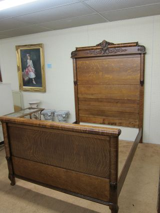 Antique Tiger Oak Full Size Bed Hand Carved Circa 1910 Refinished And Restored photo