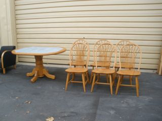 48829 Solid Oak Tile Top Table With 6 Side Chairs Chair S photo
