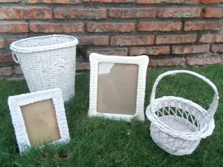 Vintage Old Wicker Chic Shabby Cottage Basket Frames Picture White Lot 4 photo