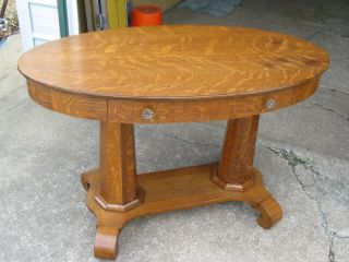 Quartersawn Oak Oval Double Pedestal Desk/library Table photo