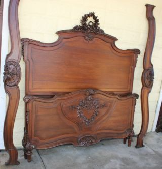 Magnificent Louis Xvi French Antique Queen Size Bed.  Made From Walnut. photo