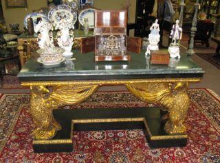 Italian Marble Top Eagle Console Table Neo Classical photo