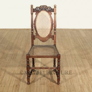 Antique English Solid Oak Jacobean Rattan High Back Side Chair C1920's P65a photo