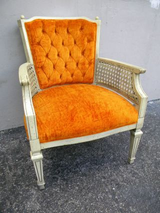 French Painted Tufted Side Chair With Caning 1823 photo