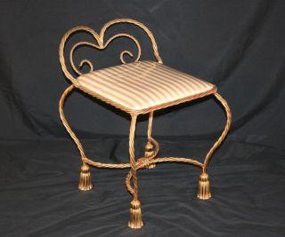 Vtg Hollywood Regency Italian Gold Gilt Metal Rope & Tassel Vanity Chair Stool photo